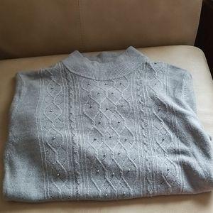 Grey tiny pearl mock neck sweater